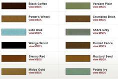 color chart, stain color, excit color, acid stain, stain concret