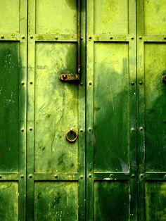 Green Metal Door.