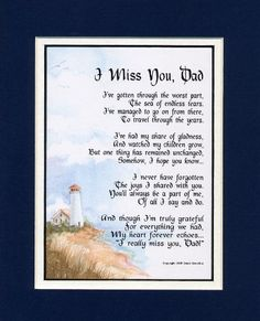 """""""I Miss You, Dad"""" Touching 8x10 Bereavement Poem, Double-matted In Navy Over White And Enhanced With Watercolor Graphics.:Amazon:Home & Kitchen"""