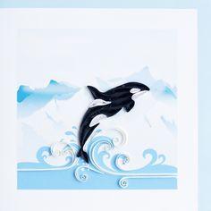 Квиллинг - открытка с китом