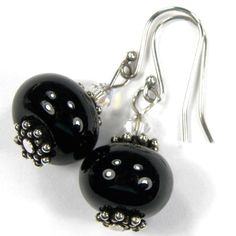 Handmade Earrings Black Lampwork Glass Crystals Sterling Silver Dangle | Covergirlbeads - Jewelry on ArtFire