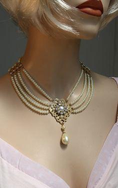 Bridal Pearl Necklace, Pearls Chocker Necklace Jewelry, Rhinestone Ivory Pearls Crystal ,Bib Collar Necklace,Weddings,Israel - TAMARI. $299.00, via Etsy.