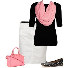 Ooh, pink with polka dot?? YES!!!! ;D {Not with a pencil skirt}