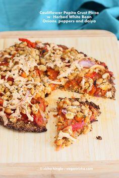 Cauliflower Pepita Chia Crust with Beans, peppers and onions. Gluten-free Vegan Recipe - Vegan Richa