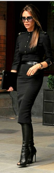 Not so basic black: Victoria Beckham in her collection and Tom Ford shoes.
