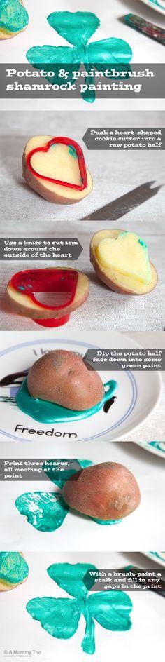 Potato & paintbrush shamrock painting (children's activity for St Patrick's Day)