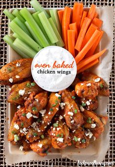 Oven Baked Chicken Wings with Hot Wing Sauce #superbowl #appetizer