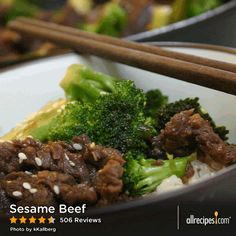 "Sesame Beef | ""Easiest, best tasting beef stir-fry I've made. I cut the sugar in half like a lot of others. I added bok choy at the end, because it cooks quickly like spinach, so its a super easy vegetable to add. I will be making this often."""