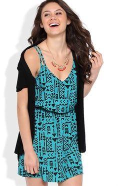 Deb Shops Tribal Print A-Line Dress with Lattice Back $24.50