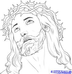 jesus face line drawing - Google Search