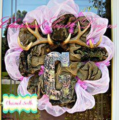 Baby Girl Mossy oak wreath. www.facebook.com/charmedsouth