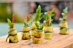 Zucchini rolls with goat cheese and mint #wedding #food