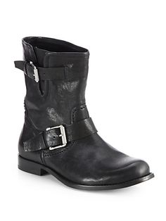 Belstaff - Hoxton Leather Mid-Calf Motorcycle Boots - Saks.com