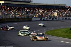 The Porsche 962  Al Holbert, Derek Bell and Chip Robinson leads  Daytona 1988