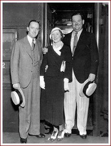 Stan Laurel and Oliver Hardy with Mrs. Hardy