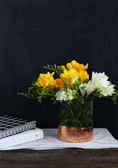 DIY gold leaf vase.