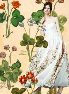 Look of the Day DolceGabbana Spring Summer 2014 Womenswear Flower Print White Gown -