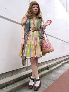 Dolly kei with chequered pattern dress, unusual