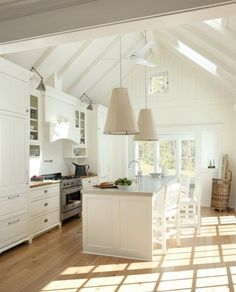 kitchen - white, with vaulted ceiling