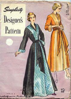 "1940s Misses Negligee Vintage Sewing Pattern, Simplicity Designer's Pattern 8260 bust 32"" uncut"