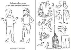 Halloween Paper Dolls with costumes.  Great for scrapbooking.