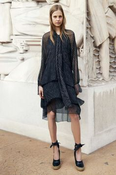 Chloé Pre-Fall 2014, ankle-tie wedges, layered dress