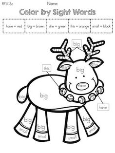 Color by Sight Words >> Part of the Kindergarten Christmas Literacy Worksheets (Common Core Aligned)