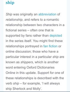 The Oxford dictionary now ships Sherlock and Molly... Just sayin...
