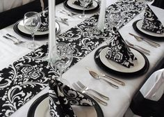 Damask Table Runner Black and White Wedding by exclusiveelements, $15.00