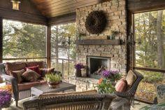 screen porches, cabin, fireplace design, dream porch, enclosed porches