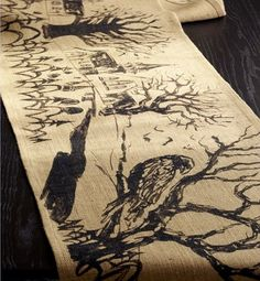 Cool Halloween table runner. Reminds me of Edgar Allen Poe.