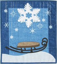 """Sledding With Flakes Pattern by Patchabilities at KayeWood.com. Finishes at 12""""x14"""" Small snowflakes are stenciled with a paintstick. Stencil included in pattern. http://www.kayewood.com/item/Sledding_With_Flakes_Pattern/3711 $9.00"""