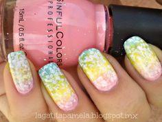 spring flower gradient nails