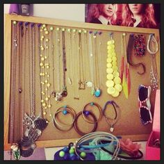 Keep your necklaces tangle-free by tacking them to a bulletin board.