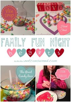Family Fun Night. 4 great games using conversation hearts. Let's Party!