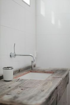 driftwood countertop, white walls, beach houses, laundry rooms, sink