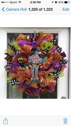 Halloween Witch Hat & Legs Deco mesh Wreath, lime green, purple, orange, chevron ribbon & black/white polka dots