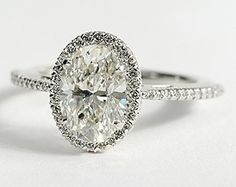 Oh my...Oval Halo Diamond Engagement Ring in 14K White Gold