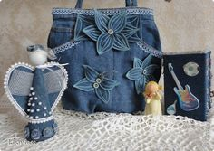 love the denim flowers on the recycled denim bag -- angel needs a face