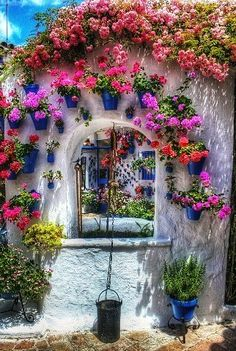 archway with pots