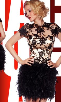 Black Lace & Feather Skirt Mini Cocktail Dresses Party Prom Gown Evening Dress