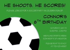 Soccer Birthday Party Invitation by sweetpeanutpaperie on Etsy, $12.00