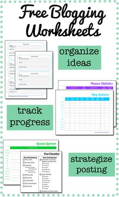 Blog Planning Worksheets - Holly's Helpings