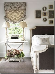 Bed curtains, bedroom decor, decorating ideas, bedside tables, window treatments, bedrooms, roman shades, guest rooms, traditional homes