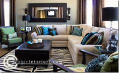 Perfect Brown and Blue and Green Living Room!! decor, idea, living rooms, color schemes, dream, blue, colors, hous, live room