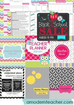 Lesson Planners with Common Core Standards (K-5 ELA and Math) www.teacherspayteachers.com/Store/A-Modern-Teacher, $