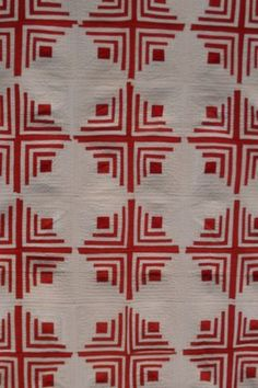 log cabin red and white quilt