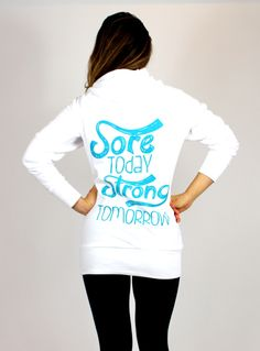 Sore Today Strong Tomorrow Long Hoodie Cute website for workout clothes @Paulina P Lagudi