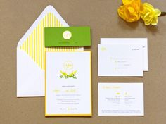 Anna + Mark's Preppy Yellow and Green Wedding Invitations | Design and Photo Credits: Lavender's Blue