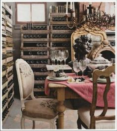 Pallet wine storage..not that I would ever need this, but it is neat